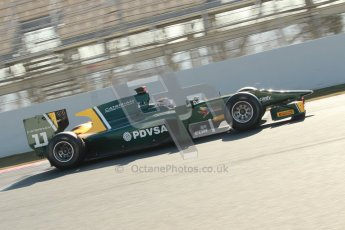 © Octane Photographic Ltd. GP2 Winter testing Barcelona Day 2, Wednesday 7th March 2012. Caterham Racing, Rodolfo Gonzales. Digital Ref : 0236cb1d4471