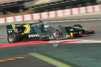 © Octane Photographic Ltd. GP2 Winter testing Barcelona Day 2, Wednesday 7th March 2012. Caterham Racing, Rodolfo Gonzales. Digital Ref : 0236cb1d4752