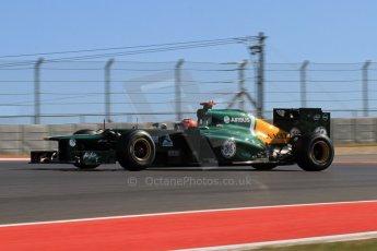 World © Octane Photographic Ltd. F1 USA - Circuit of the Americas - Friday Afternoon Practice - FP2. 16th November 2012. Caterham CT01 - Heikki Kovalainen. Digital Ref: 0558lw7d3383