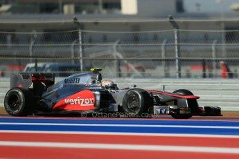 World © Octane Photographic Ltd. F1 USA - Circuit of the Americas - Friday Morning Practice - FP1. 16th November 2012. Lewis Hamilton - Vodafone McLaren Mercedes MP4/27. Digital Ref: 0557lw1d0923