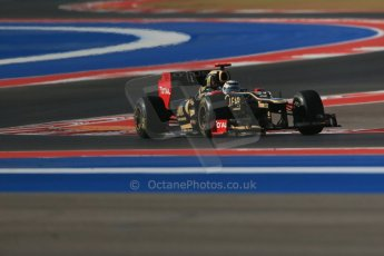 World © Octane Photographic Ltd. F1 USA - Circuit of the Americas - Friday Morning Practice - FP1. 16th November 2012. Lotus E20 - Romain Grosjean. Digital Ref: 0557lw1d1201