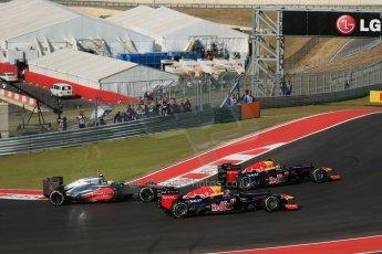 World © Octane Photographic Ltd. Formula 1 USA, Circuit of the Americas - Race - Red Bull RB8 of Sebastian Vettel and Mark Webber, Vodafone McLaren Mercedes MP4/27 - Lewis Hamilton. 18th November 2012 Digital Ref: 0561lw1d4160