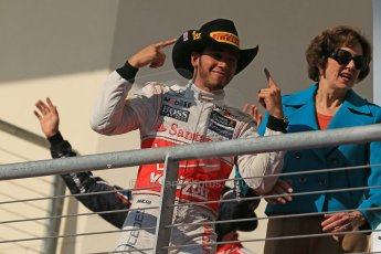 World © Octane Photographic Ltd. Formula 1 USA, Circuit of the Americas - Podium - Lewis Hamilton, Vodafone McLaren Mercedes. 18th November 2012 Digital Ref: 0561lw1d4696