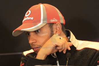 2012 © www.octanephotos.co.uk Circuit of the Americas - Thursday Press Conference - Lewis Hamilton - McLaren. 15th November 2012 Digital Ref: 0556lw7d2682