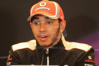 2012 © www.octanephotos.co.uk Circuit of the Americas - Thursday Press Conference - Lewis Hamilton - McLaren. 15th November 2012 Digital Ref: 0556lw7d2848