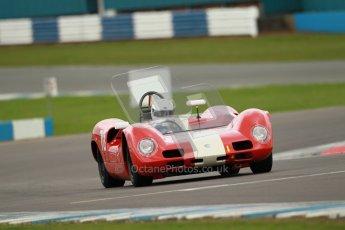 "© Octane Photographic Ltd. 2012 Donington Historic Festival. ""1000km"" for pre-72 sports-racing cars, qualifying. Elva Mk.8 - Dion Kremer/Gabriel Kramer. Digital Ref : 0319cb1d8557"