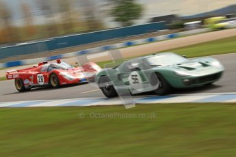 "© Octane Photographic Ltd. 2012 Donington Historic Festival. ""1000km"" for pre-72 sports-racing cars, qualifying. Ford GT40 - Andy Wolfe and Ferrari 512M - Paul Knapfield. Digital Ref : 0319cb7d0207"