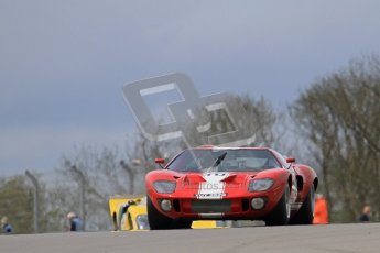 """© Octane Photographic Ltd. 2012 Donington Historic Festival. """"1000km"""" for pre-72 sports-racing cars, qualifying. Ford GT40 - Chris Ball/Nick Ball. Digital Ref : 0319lw7d9059"""