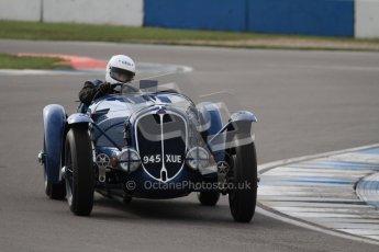 "© Octane Photographic Ltd. 2012 Donington Historic Festival. ""Mad Jack"" for pre-war sportscars, qualifying. Delahaye 135CS - John Polson. Digital Ref : 0314lw7d7085"