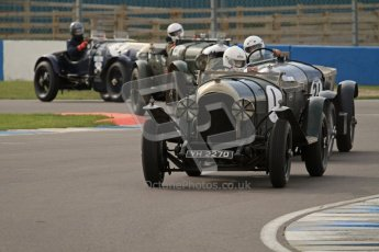 "© Octane Photographic Ltd. 2012 Donington Historic Festival. ""Mad Jack"" for pre-war sportscars, qualifying. The Duncan Wiltshire/Clive Morley car leads a Bentley 4 ship formation though the Esses. Digital Ref : 0314lw7d7101"