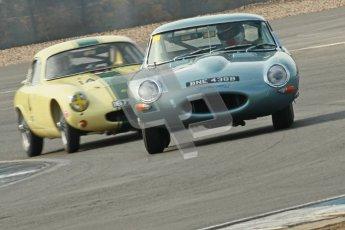 © Octane Photographic Ltd. 2012 Donington Historic Festival. Pre-63 GT, qualifying. Jaguar E-type - Per Jonsson and Lotus Elite - Pal Garside, Philip Weston. Digital Ref : 0322cb1d9429