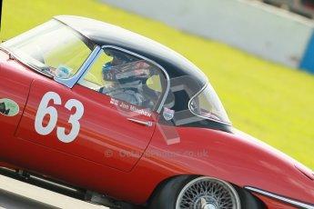 © Octane Photographic Ltd. 2012 Donington Historic Festival. Pre-63 GT, qualifying. Jaguar E-type - Jon Minshaw, Guy Minshaw. Digital Ref : 0322cb1d9480