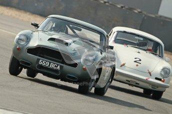 © Octane Photographic Ltd. 2012 Donington Historic Festival. Pre-63 GT, qualifying. Aston Martin DB4GT - Martin Stretton and Porsche 356 Carrera 2 GT - Carlo Vogele. Digital Ref : 0322cb1d9543