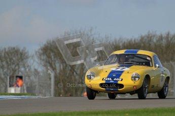 © Octane Photographic Ltd. 2012 Donington Historic Festival. Pre-63 GT, qualifying. Lotus Elite - Barry Davison, Patrick Sherrington. Digital Ref : 0322lw7d0205
