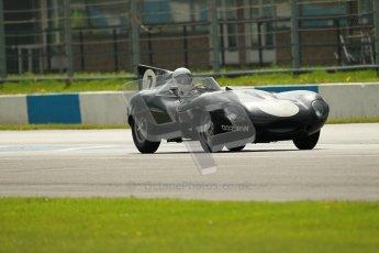 © Octane Photographic Ltd. 2012 Donington Historic Festival. RAC Woodcote Trophy for pre-56 sportscars, qualifying. Jaguar D-type - Gary Person/John Pearson. Digital Ref : 0316cb1d8053
