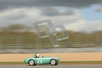 © Octane Photographic Ltd. 2012 Donington Historic Festival. RAC Woodcote Trophy for pre-56 sportscars, qualifying. Austin-Healey racing under the gathering clouds. Digital Ref : 0316cb7d0012