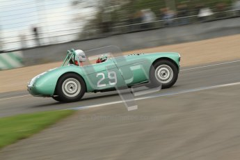 © Octane Photographic Ltd. 2012 Donington Historic Festival. RAC Woodcote Trophy for pre-56 sportscars, qualifying. Austin-Healey. Digital Ref : 0316cb7d9928