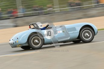 © Octane Photographic Ltd. 2012 Donington Historic Festival. RAC Woodcote Trophy for pre-56 sportscars, qualifying. Jaguar C-type - Reverend Simon Butler/Jonathan Crouch. Digital Ref : 0316cb7d9950