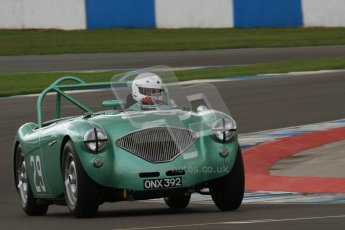 © Octane Photographic Ltd. 2012 Donington Historic Festival. RAC Woodcote Trophy for pre-56 sportscars, qualifying. Austin-Healey. Digital Ref : 0316lw7d8200