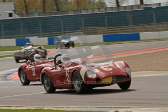 © Octane Photographic Ltd. 2012 Donington Historic Festival. RAC Woodcote Trophy for pre-56 sportscars, qualifying. Maserati 300s - Carlo Vogele and Maserati 300S - Conrad Ulrich/Willie Green. Digital Ref : 0316lw7d8380