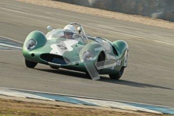 © Octane Photographic Ltd. 2012 Donington Historic Festival. Stirling Moss Trophy for pre-61 sportscars, qualifying. Lister Jaguar Costin - Carlos Monteverde, Gary Pearson. Digital Ref : 0321cb1d9041