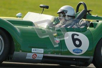 © Octane Photographic Ltd. 2012 Donington Historic Festival. Stirling Moss Trophy for pre-61 sportscars, qualifying. Lister Chrevrolet - Mark Gibbon/James Gibbon. Digital Ref : 0321cb1d9116