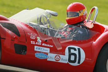 © Octane Photographic Ltd. 2012 Donington Historic Festival. Stirling Moss Trophy for pre-61 sportscars, qualifying. Maserati T61 Birdcage - Alan Minshaw. Digital Ref : 0321cb1d9120