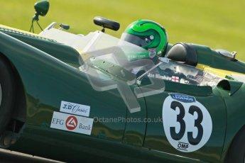 © Octane Photographic Ltd. 2012 Donington Historic Festival. Stirling Moss Trophy for pre-61 sportscars, qualifying. Lister Knobley - Martin Stretton. Digital Ref : 0321cb1d9170