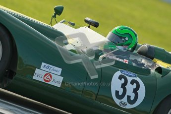 © Octane Photographic Ltd. 2012 Donington Historic Festival. Stirling Moss Trophy for pre-61 sportscars, qualifying. Lister Knobley - Martin Stretton. Digital Ref : 0321cb1d9194