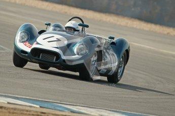 © Octane Photographic Ltd. 2012 Donington Historic Festival. Stirling Moss Trophy for pre-61 sportscars, qualifying. Lister Jaguar Knobbly - Derek Hood, John Young. Digital Ref : 0321cb1d9245