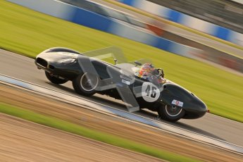 © Octane Photographic Ltd. 2012 Donington Historic Festival. Stirling Moss Trophy for pre-61 sportscars, qualifying. Lister Jaguar Costin - Alex Buncombe, Chris Ward. Digital Ref : 0321cb7d0321