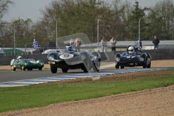 © Octane Photographic Ltd. 2012 Donington Historic Festival. Stirling Moss Trophy for pre-61 sportscars, qualifying. Jaguar D-type - Benjamin Eastick. Digital Ref : 0321lw7d0014