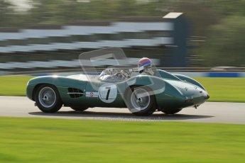 © Octane Photographic Ltd. 2012 Donington Historic Festival. Stirling Moss Trophy for pre-61 sportscars, qualifying. Aston-Martin DBR1 - Wolfgang Friedrichs,David Clark. Digital Ref : 0321lw7d0040