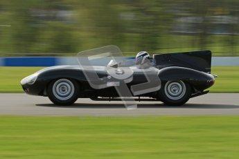 © Octane Photographic Ltd. 2012 Donington Historic Festival. Stirling Moss Trophy for pre-61 sportscars, qualifying. Jaguar D-type, Benjamin Eastick. Digital Ref : 0321lw7d9811