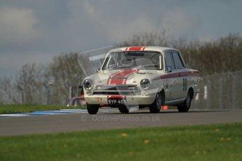 © Octane Photographic Ltd. 2012 Donington Historic Festival. U2TC. Ford Lotus Cortina - Mark Halstead,Stuart McPherson. Digital Ref : 0323lw7d0462