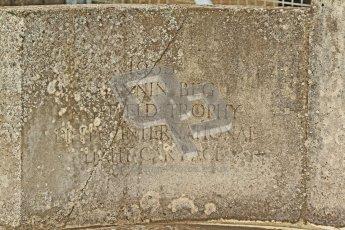 "© Octane Photographic Ltd. Donington Park un-silenced general test day, 26th April 2012. Pat Fairfield memorial fountain inscription ""1935 Mannin Beg, Nuffield Trophy, Dieppe International Light Car Race"". Digital Ref : 0301cb7d8343"
