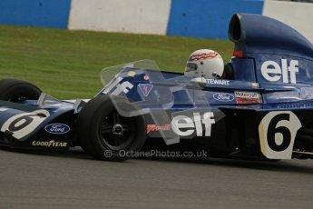 © Octane Photographic Ltd. Donington Park un-silenced general test day, 26th April 2012. John Delane, ex-Jackie Stewart Tyrrell 006, Historic F1 Championship. Digital Ref : 0301lw7d9601