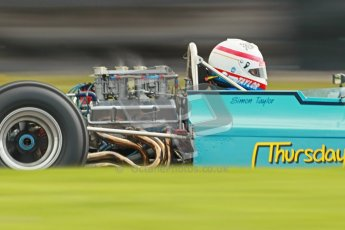 © Octane Photographic Ltd. Donington Park un-silenced general test day, 26th April 2012. Simon Taylor, Ex-Derek Bell Chevron B24 F5000 showing the indiction vortices. Digital Ref : 0301cb1d2956