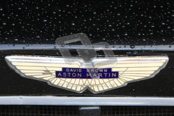 © Octane Photographic Ltd. Donington Park un-silenced general test day, 26th April 2012. Aston Martin DB3 badge. Digital Ref : 0301cb7d7456