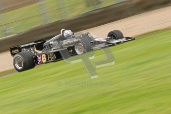 © Octane Photographic Ltd. Donington Park un-silenced general test day, 26th April 2012. Lotus 77 - Rob Hall, Historic F1. Digital Ref : 0301cb7d8029