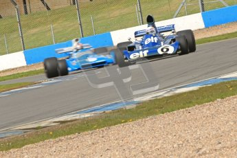 © Octane Photographic Ltd. Donington Park un-silenced general test day, 26th April 2012. John Delane, ex-Jackie Stewart Tyrrell 006 leads Matra MS120 - Historic F1 Championship - Rob Hall. Digital Ref : 0301cb7d8123