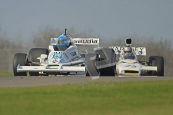 © Octane Photographic Ltd. Donington Park un-silenced general testing. Thursday 29th March 2012. Williams FW06 and McLaren M19, Historic F1. Digital Ref : 0261cb7d4340