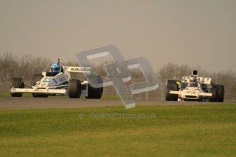 © Octane Photographic Ltd. Donington Park un-silenced general testing. Thursday 29th March 2012. Williams FW06 and McLaren M19, Historic F1. Digital Ref : 0261lw7d4691