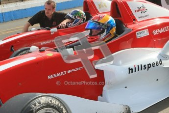 © Octane Photographic Ltd. 2012. Donington Park - General Test Day. Thursday 16th August 2012. Formula Renault BARC. Kieran Vernon and Jacob Nortoft - Hillspeed. Digital Ref : 0458cb1d016o