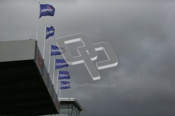 © Octane Photographic Ltd. 2012. Donington Park - General Test Day. Thursday 16th August 2012. Formula Renault BARC. Donington Park flags with storm clouds gathering. Digital Ref : 0458cb1d0779