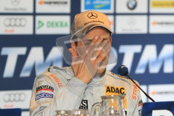 © Octane Photographic Ltd. 2012. DTM – Brands Hatch - Post-race press conference. Sunday 20th May 2012. Gary Paffett - AMG C-Coupe - Thomas Sabo Mercedes AMG.  Digital Ref : 0346cb7d7281