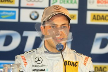 © Octane Photographic Ltd. 2012. DTM – Brands Hatch  - Saturday Press Conference. Gary Paffett - Mercedes AMG C-Coupe - Thomas Sabo Mercedes AMG. Digital Ref :