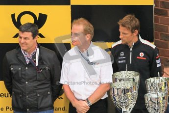 © Octane Photographic Ltd. 2012. DTM – Brands Hatch  - Race. Sunday 20th May 2012. Mark Blundell, Jonathan Palmer and Jenson Button ready to hand out the trophies. Digital Ref :