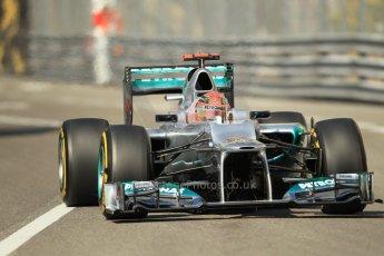 © Octane Photographic Ltd. 2012.  F1 Monte Carlo - Practice 1. Thursday  24th May 2012. Michael Schumacher - Mercedes. Digital Ref : 0350cb1d0152
