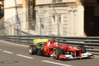 © Octane Photographic Ltd. 2012. F1 Monte Carlo - Practice 1. Thursday  24th May 2012. Fernando Alonso with his Ferrari's rear covered in aeroflow paint. Digital Ref : 0350cb7d7361